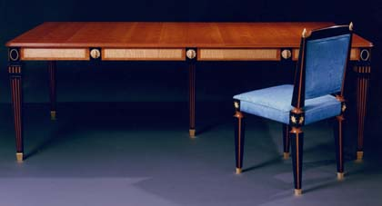 Richard Scott Newman   Cherry, Ebony And Gold Extension Dining Table