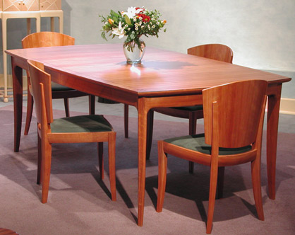 Dining Room Extension Table With 10 Chairs All From One Tree By WILLIAM WALKER Cherry Cocobolo Sueded Fabric